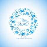 Ð ¡ hristmas圆环由糖果制成 与圣诞节花圈的海报用糖果、星从冰,宝石和雪花 皇族释放例证