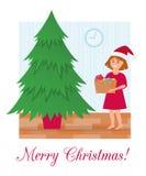 Ð ¡ hristmas drzewni bez dekoracji i dziewczyny z pudełkiem Bożenarodzeniowe piłki i girlanda ilustracji