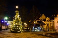 Ð ¡ hristmasinstallatie in Tsjechisch dorp stock fotografie