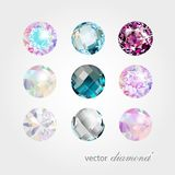 Ð ¡ ollection różni colour wektoru gemstones Obrazy Stock