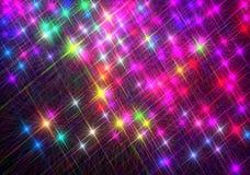 Ð ¡ omposition błyszczeć kolorowe gwiazdy na czarnym tle ilustracja wektor