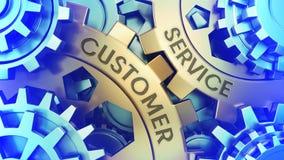 Ð-¡ oncept Kundendienst an den Gängen Gold und blaue Illustration der Gang weel Hintergrundillustration 3d stock abbildung