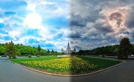 Ð-¡ onceptual Panoramablick Tag und Nacht von den Frühlingsblumen, die darunter im Campus der berühmten russischen Universität in stockfotos