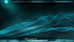 Ð ¡ yberspace de vectorachtergrond van het landschapsnetwerk vector illustratie