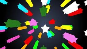 Двигая красочные звезды размечают предпосылку частицы движения искривления на темно-синем градиенте акции видеоматериалы