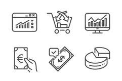 Движение сети, перекрестное надувательство и принятый набор значков оплаты Знаки долевой диограммы финансов, статистики и вектор иллюстрация штока