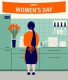 Девушка в кухне во время праздника иллюстрация штока