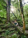 Девушка в плотном зеленом тропическом лесе стоковое изображение rf