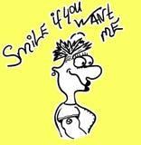 Девушка мультфильма карты с литерностью - улыбкой если вы хотите меня Чертеж руки иллюстрации вектора Смешная вычерченная женщина иллюстрация вектора