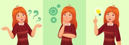 девушка предназначенная для подростков думает Смущенный молодой женский подросток, внимательный студент девушки и отвечая мультфи иллюстрация вектора
