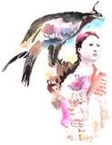 Девушка с беркутом иллюстрация вектора