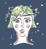 Девушка с цветастыми шариками иллюстрация штока