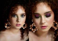 Девушка с сочными курчавыми красными волосами Близко к половине стороны с ярким макияжем и массивными серьгами стоковое изображение