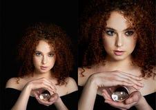 Девушка с сочными курчавыми красными волосами Владения в его руках стеклянный глобус Тайна, предчувствие будущего коллаж стоковая фотография