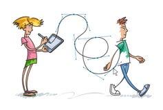 Девушка рисует мальчика вектора бесплатная иллюстрация