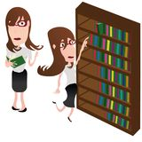 Девушка со стеклами читает книгу иллюстрация вектора