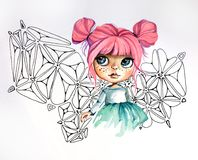 девочка с большими глазами и розовыми волосами Royalty Free Stock Images