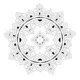 Декоративная этническая картина мандалы страница книжка-раскраски Анти--стресса для взрослых Необыкновенная форма цветка Восточны иллюстрация вектора