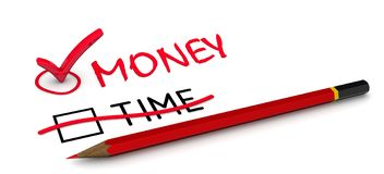 Деньги но не время Концепция изменять заключение иллюстрация вектора