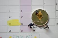 День вилки Ethereum ETH трудный стоковые фотографии rf