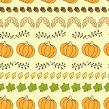 Seamless pattern with pumpkins, leaves and acorns. stock illustration