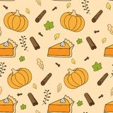 Cute autumn seamless background pattern with pumpkin, falling leaves, pumpkin pie and spices. stock illustration
