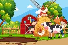 Дети в ферме иллюстрация штока