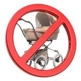 Детская сидячая коляска со знаком запрета, переводом 3D бесплатная иллюстрация