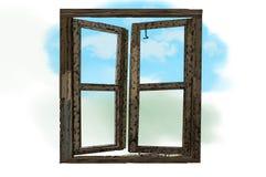 Деревянное двойное раскрытое окно изолированным стоковые фото