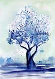 Дерево весны в зеленоголубом gamut бирюзы Светлые зеленоватые пятна заполнения предпосылки, ярких и темно-синих кроны пурпурово иллюстрация вектора