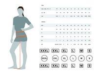 Диаграмма размера для женщин иллюстрация штока
