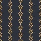 Дизайн пшеницы вектора фольклорный с предпосылкой картины золота безшовной иллюстрация штока