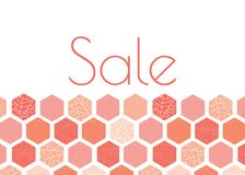 Дизайн шаблона знамени рекламы продажи с пинком, персиком, картиной шестиугольника коралла Стиль печати экрана Grunge самомоднейш иллюстрация штока