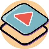 Дизайн равновеликого значка кнопки игры плоский бесплатная иллюстрация