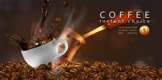 Дизайн рекламы кофе Кофейная чашка, бак и кофейные зерна на прозрачной предпосылке вектор 3d Максимум детализировал реалистическо иллюстрация штока