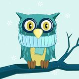 Owl dressed in winter scarf royalty free illustration
