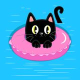Black cat with inflatable swimming ring vector illustration