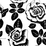 Seamless vintage floral black and white pattern with roses vector illustration