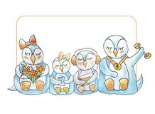 Family of penguins with frame and lettering vector illustration