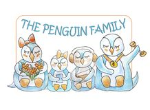 Family of penguins with frame and lettering stock illustration