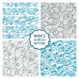 Waves seamless pattern. Set of vector illustrations with sea waves. royalty free illustration