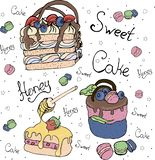 Bright cakes and fruitcakes.cake. Illustration on a theme of desserts, bright cakes and fruitcakes.elements can be used in menus, signs, banners, flyers stock illustration