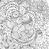 Flowers and different doodles, curls, black and white image, graphics stock illustration