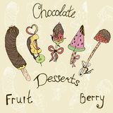 fruit on a stick in chocolate.illustration stock illustration
