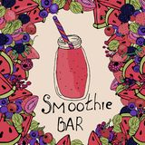 Smoothies background, berry smoothies stock illustration