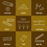 Line style icon collection - wood waste elements. stock illustration