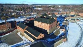 Древняя крепость города Hameenlinna, видео дня в марте воздушного Финляндия акции видеоматериалы