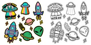 Set space stickers. Black and white and colorful line set icons with patches stickers with stars alien UFO spaceships planets. Modern vector style mascot logo vector illustration