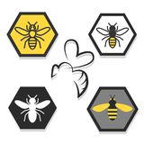 Set of icons of bees. A set of icon or icons with bees or wasps, apiaries, honey vector illustration