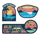 Surfing set prints stickers patches posters stock illustration
